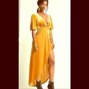 Yellow velvet wrap dress